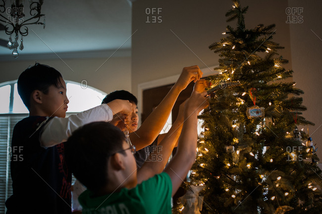 Brothers decorating their Christmas tree