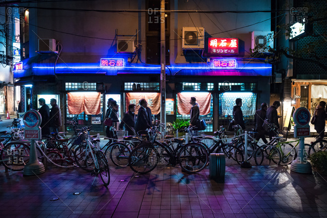 Osaka, JAPAN - February 20, 2015: Asian shop with bikes parked out front.