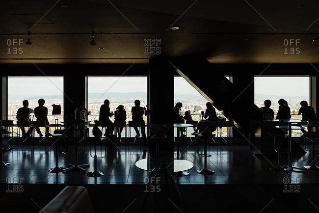 Visitors in Floating Garden Observatory on top of the Umeda Sky Building.