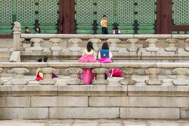 Seoul, KOREA - October 7, 2015: Girls wearing Hanbok(traditional Korean costume) in Gyeongbokgung Palace.