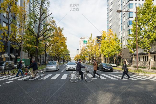 Osaka, JAPAN - December 2, 2015: Pedestrian crossing in Midosuji street, Osaka.