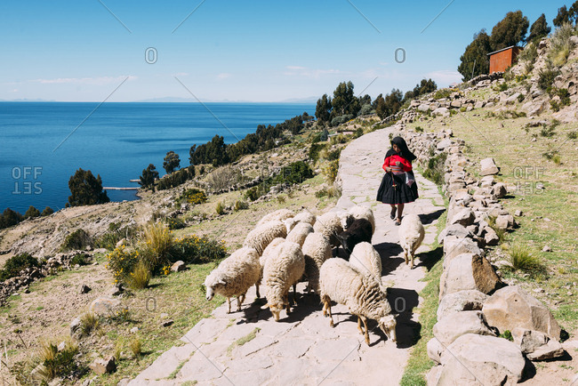 Taquile Island, Lake Titicaca, Peru - May 19, 2015: Peruvian shepherdess wearing traditional clothes