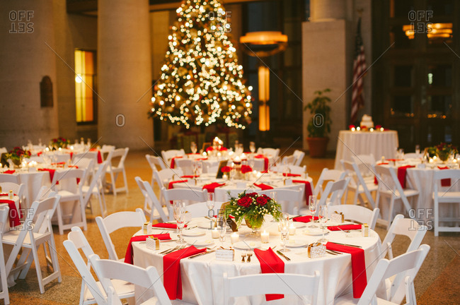 Christmas wedding reception tables