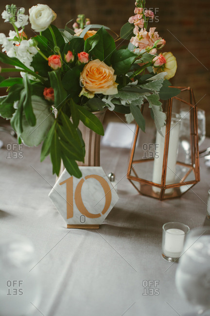 Table number on wedding reception table