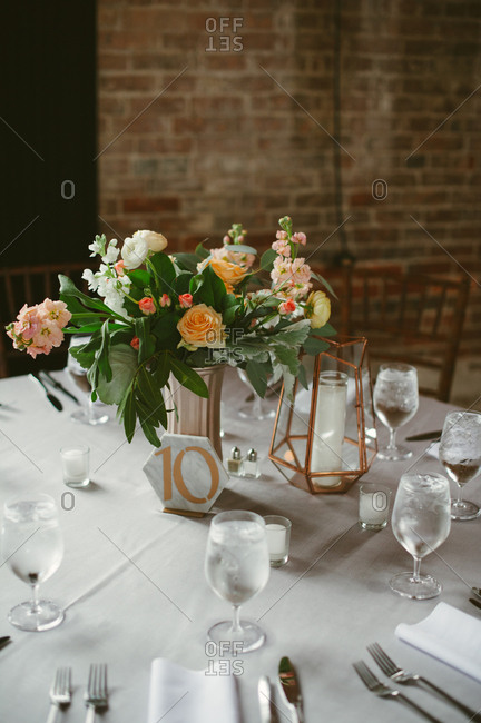 Table with number at wedding reception