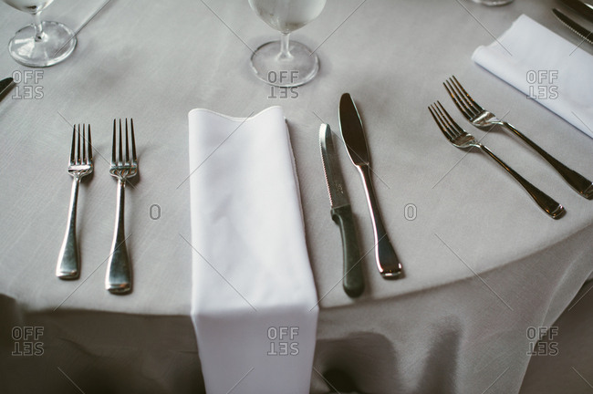 Formal place setting at reception table
