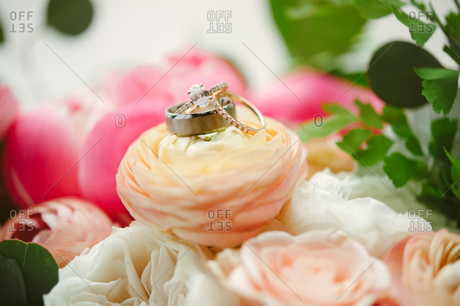 Wedding bands on a flower