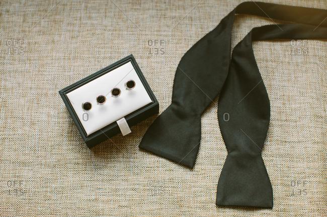 Tuxedo studs and bowtie