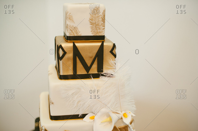 Letter M on a wedding cake