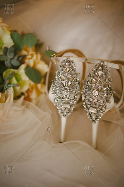 Wedding heels with ornate backs