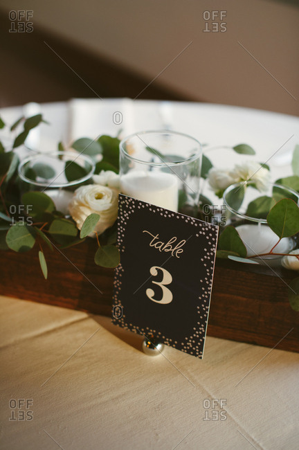 Sign for table number at wedding reception