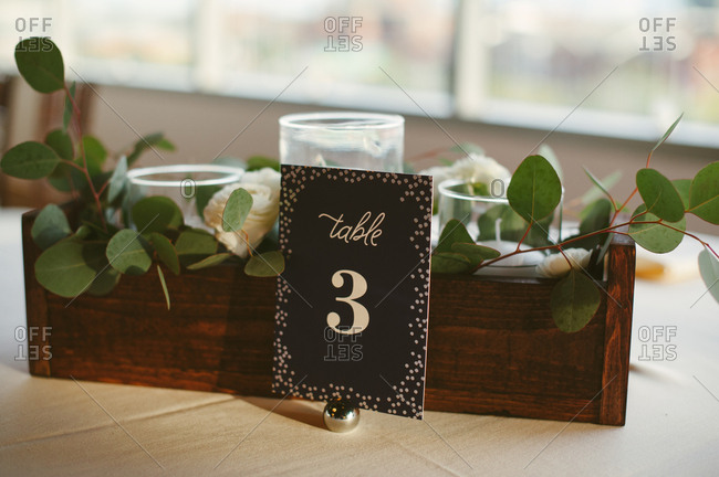 Numbered table at a wedding reception