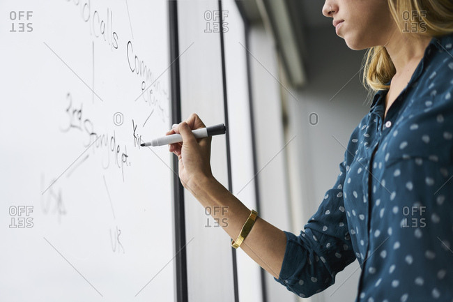 Midsection of businesswoman writing on glass window in office
