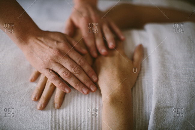 Hands during a massage