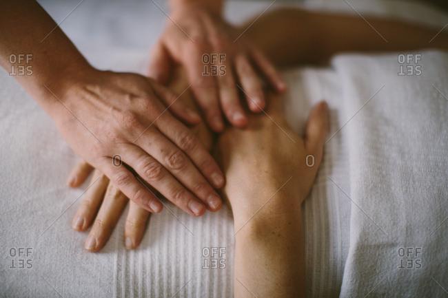 Hands during a massage