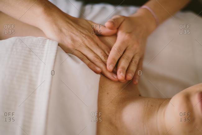 Hands giving a massage
