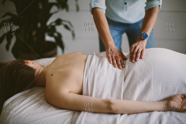 Woman getting a back massage