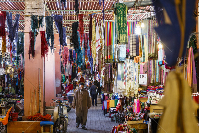 Marrakesh, Morocco - November 20, 2016: Souq de Tailleurs at the Medina (old Town) were textiles are hanged to be dried