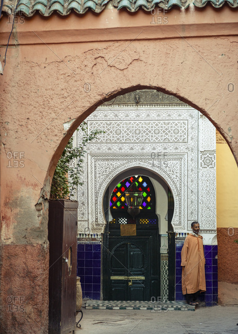 Marrakesh, Morocco - November 20, 2016: Entrance to a mosque in the Medina (old Town)