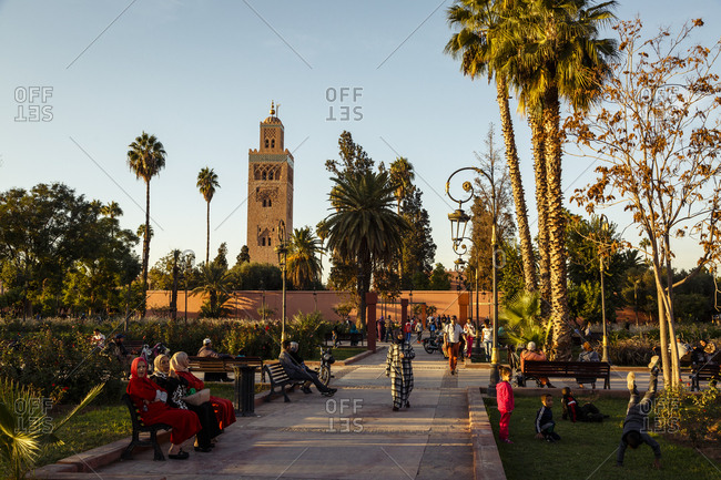 Marrakesh, Morocco - November 20, 2016: The Koutoubia Mosque in the Medina (old Town)