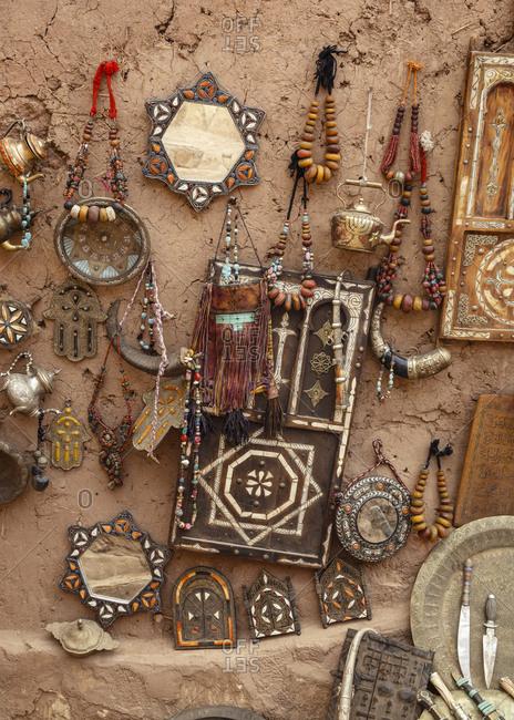 Traditional Berber handicraft, Ait Benhaddou Kasbah, the High Atlas Mountain, Morocco.