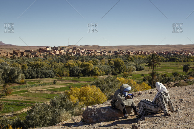 Tinerhir, Morocco - November 24, 2016: View over the village and the cultivated fields of Todra valley, Atlas Mountain