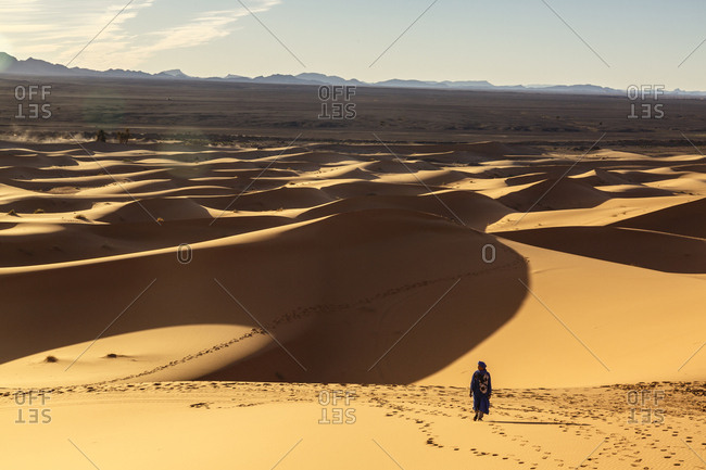 Merzouga, Morocco - November 24, 2016: The Erg Chebbi sand dunes, Sahara Desert