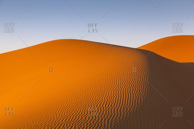 The Erg Chebbi sand dunes, Sahara Desert, Merzouga, Morocco.