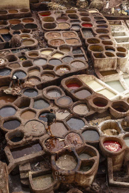 The leather tannery souk at the Medina (old town). Fes el Bali, Fes. Morocco