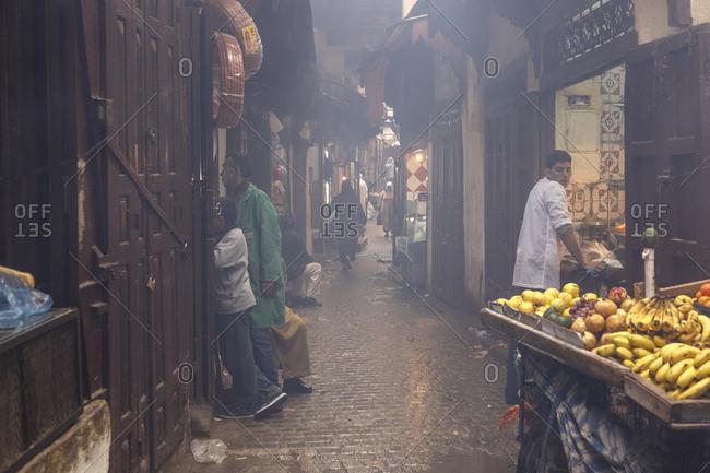 Fes, Morocco - November 26, 2016: Street scene in the medina (old town) Fes el Bali