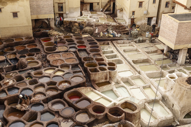 Fes, Morocco - November 26, 2016: The leather tannery souk at the Medina (old town) Fes el Bali