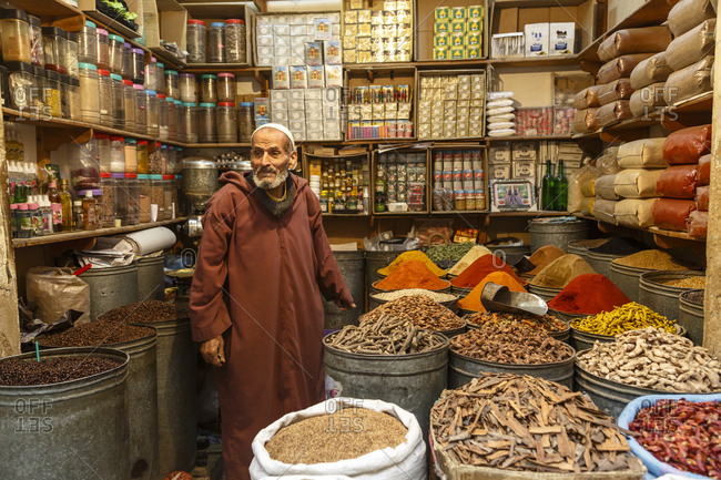 Fes, Morocco - November 27, 2016: Spice shop in the medina (old town) Fes el Bali