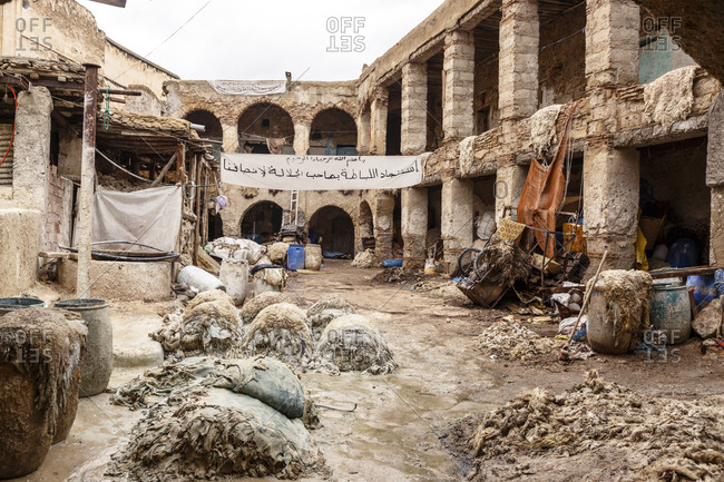 Fes, Morocco - November 27, 2016: The leather tannery souk at the Medina (old town) Fes el Bali