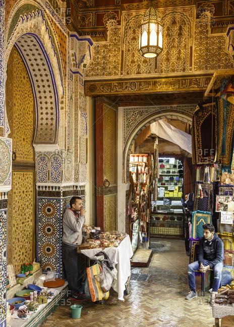 Fes, Morocco - November 27, 2016: Street scene in the medina (old town) Fes el Bali