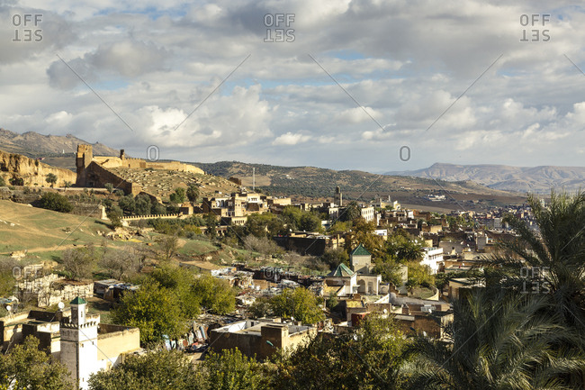 A view over the rooftops of the old town. Fes el Bali, Fes. Morocco