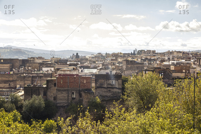 Fes, Morocco - November 28, 2016: A view over the rooftops of the old town Fes el Bali
