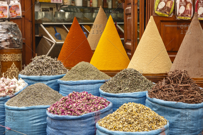 Marrakesh, Morocco - November 29, 2016: Spices in the market