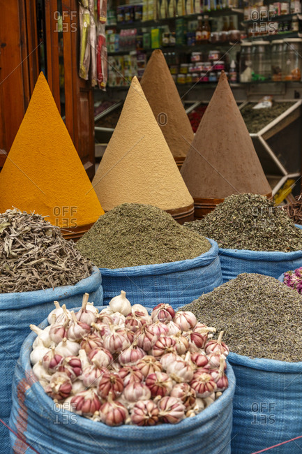 Spices in the market, Marrakesh, Morocco.
