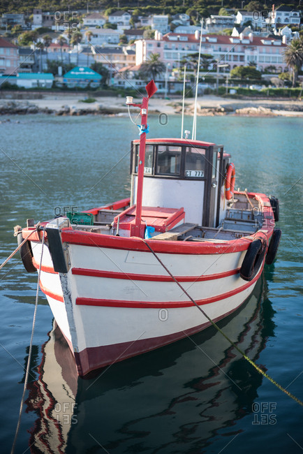 Cape Town, South Africa - July 22, 2015: Red and white boat in the Kalk Kay Harbor