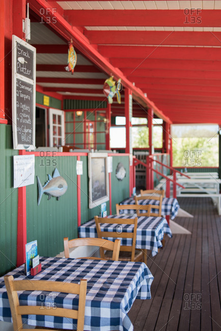 Paternoster, Western Cape, South Africa - July 22, 2015: Outdoor dining area at a restaurant in Paternoster, Western Cape, South Africa