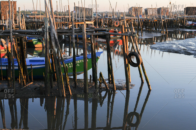Carrasqueira, Comporta, Portugal - July 22, 2015: Marina with stilt docks in Portugal