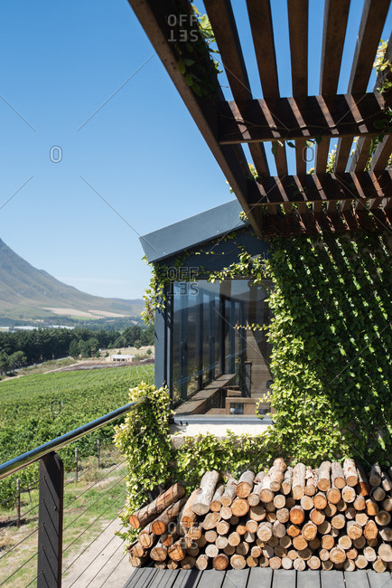 Building exterior in the countryside of the Hermanus Winelands in Western Cape, South Africa