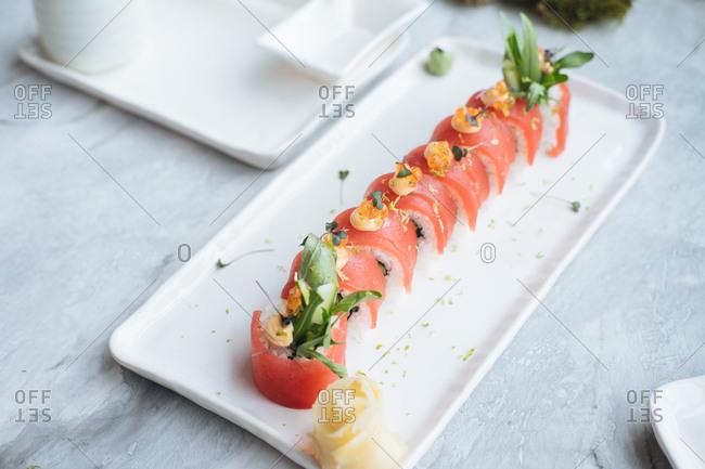 Tuna rolls on a plate