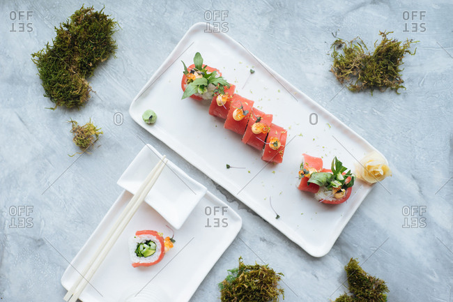 High angle view of tuna rolls being served on a plate