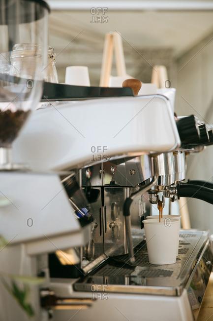 Coffee machine brewing in a caf�