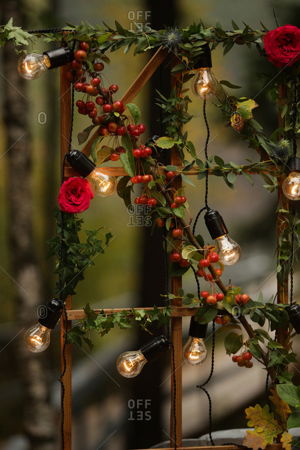 Wedding d�cor with lights and flowers on a trellis
