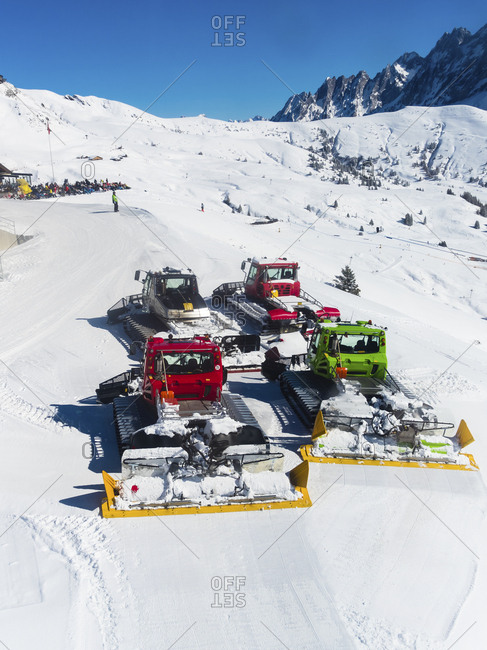 Canton of Bern, Switzerland - February 25, 2017: Snowcats clearing the way for skiers in Grindelwald