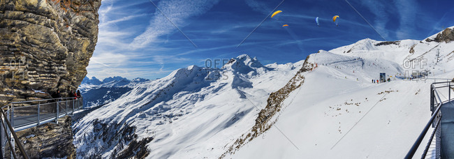 Canton of Bern, Switzerland - February 25, 2017: View from First Cliff Walk on the mountainside of Reeti at a Grindelwald ski area