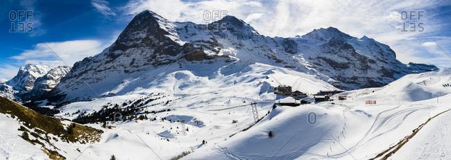 Canton of Bern, Switzerland - February 26, 2017: Switzerland- Canton of Bern- Grindelwald- Kleine Scheidegg- summit station and Eiger North Face