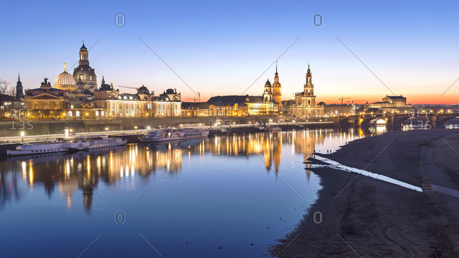 Dresden, Germany - February 15, 2017: Old town and River Elbe at dusk
